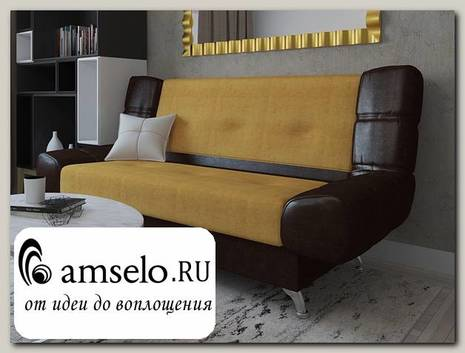 Диван-книжка Roberto (Вельвет beige EG581-L12/Кожзам. Omega 07 dark brown)