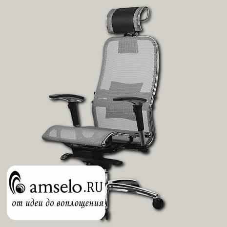 """Кресло fold """"Нэо"""" (Сетчатая ткань Серая/Кожа NewLeather Черная/Хром)"""