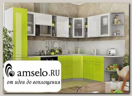 """Кухня угловая 2,0х2,8 левая decorazione """"Лакрима"""" (МДФ глянец) (Белый/Лайм)"""