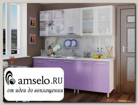 """Кухня acquerello 2,0 """"Кьянти"""" (МДФ)(Фотопечать """"Акварель""""/Лиловый сад)"""