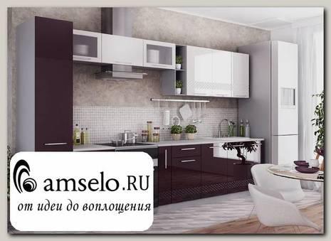 """Кухня 3,5 decorazione """"Лакрима"""" (МДФ глянец) (Белый/Баклажан)"""