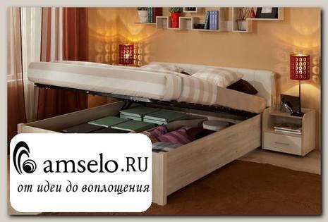 """Кровать 1600 с подъёмн.мех-м """"Мюнхен"""" (Дуб сонома/Винилкожа белая)Gl/BRL32"""