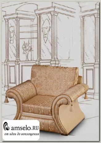 "Кресло выкатной мех-зм/2 накидки Napoleon ""Лувр"" (Бук) (Жаккард Marguarite de valois fleur blanc/Сутаж/Кисти)"
