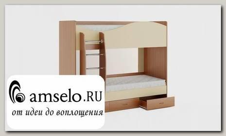 """Кровать двухъярусная с ящиками """"Ричи"""" (Бук/Персик)"""