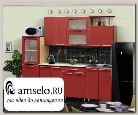 """Кухня 2,3 №14 """"Дольчетто"""" (МДФ глянец) (Дуб/Красный глянец)"""