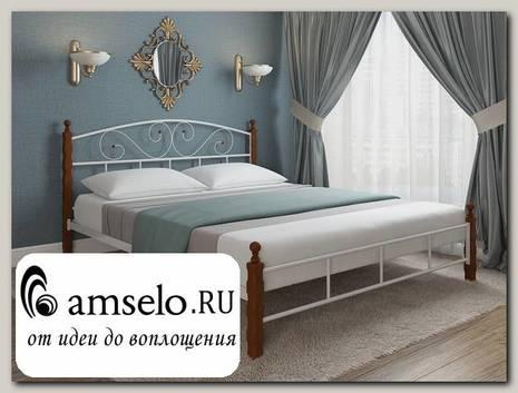 """Кровать 1400 asia """"Ларго""""(Металл Белый глянец/Дерево цвет яблоня)-MS/М2"""
