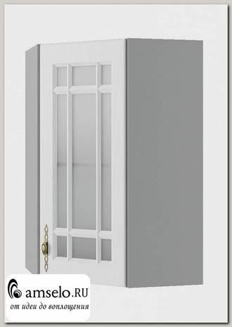 """Шкаф высокий угловой 550""""Лорен"""" (МДФ) (Белый/Стекло)"""