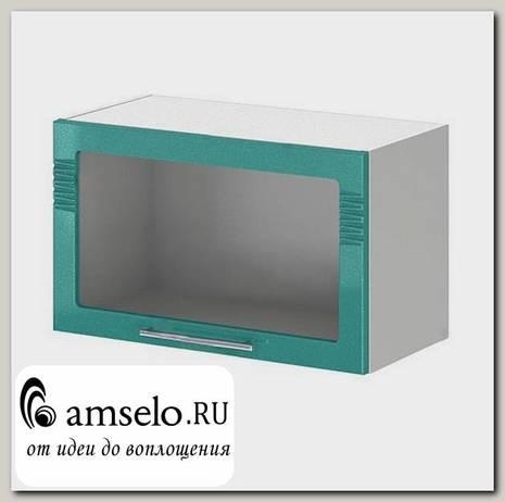 "Шкаф 600 верхнее откр. decor ""Бруско"" (МДФ) (Бирюза металлик/Стекло) /ИЦMkk/ШВГС600"