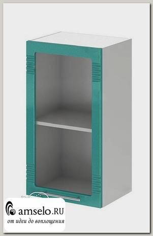 """Шкаф 400 decor """"Бруско"""" (МДФ) (Бирюза металлик/Стекло) /ИЦMkk/ШВС400"""