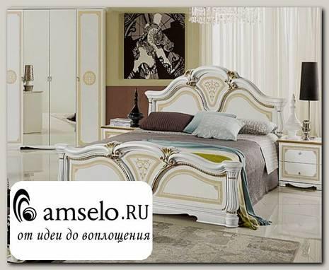 """Кровать 1600 """"Тоскана"""" (МДФ) (Белый/Золото/Шелкография) MrGr"""