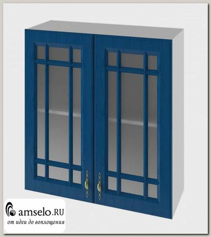 """Шкаф высокий 800""""Лорен"""" (МДФ) (Синий/Стекло)"""