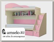 """Кровать двухъярусная с лестницей-комодом """"Benito"""" (Бежевый/Фламинго)"""