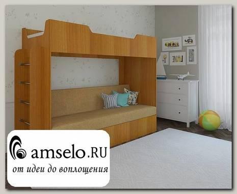 """Кровать двухъярусная с диваном """"Ричи"""" (Бук темный/Флок №21 песочный)"""