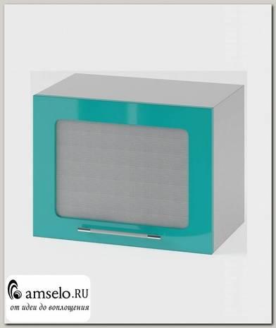 "Шкаф 500 верхнее откр. ""Бруско"" (МДФ металлик) (Бирюза/Стекло)"
