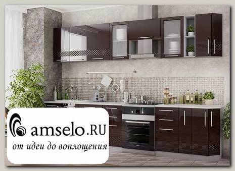 "Кухня 3,0 decorazione ""Лакрима"" (МДФ глянец) (Шоколад/Шоколад)"