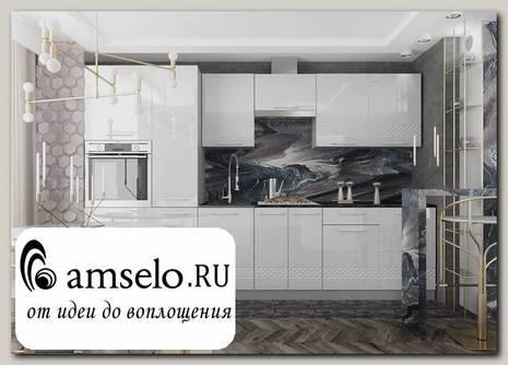 "Кухня 3,0 decorazione ""Лакрима"" (МДФ глянец) (Белый)"