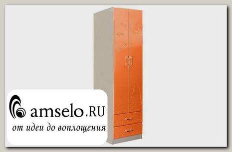 "Шкаф 2х дверн. ""Элвин"" (МДФ) (Дуб Линдберг/Оранжевый металлик)"