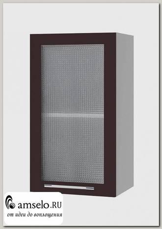"""Шкаф 400 decorazione """"Лакрима"""" (МДФ глянец) (Шоколад/Стекло)"""