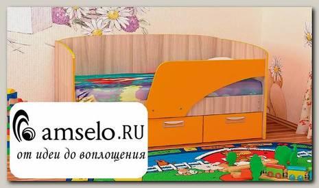 """Кровать с ящ. """"Кьюза"""" (Ясень шимо светлый/Оранжевый)"""