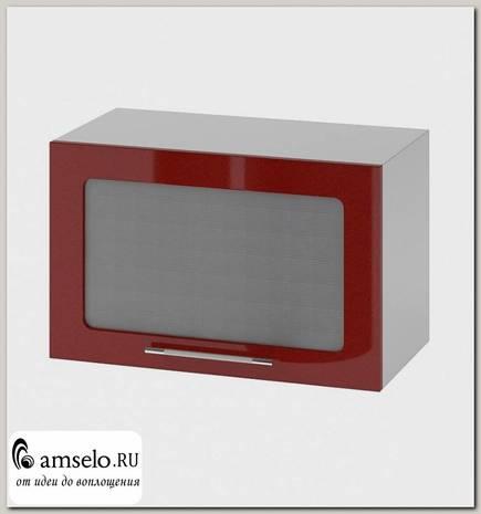 "Шкаф 600 верхнее откр. ""Бруско"" (МДФ) (Гранат металлик/Стекло)"