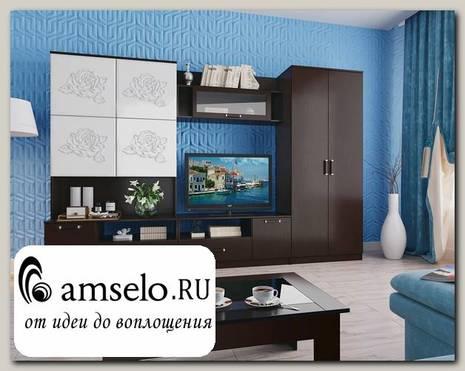 """Гостиная 3,0 luxe """"Rosa"""" (МДФ) (Венге/Белый глянец/Стекло)"""