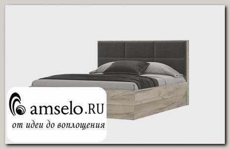 """Кровать 1600 с подъемн. мех-м """"Юта"""" (Дуб Серый Крафт/Рогожка Серая)"""