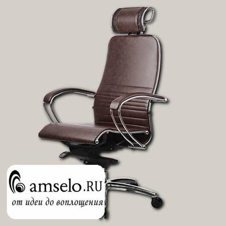 "Кресло comfort ""Нэо"" (Кожа NewLeather Темно-коричневая/Хром)"