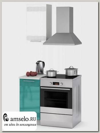 """Кухня 0,5 decor """"Бруско"""" (МДФ) (Белый/Бирюза) /ИЦMkk/1"""