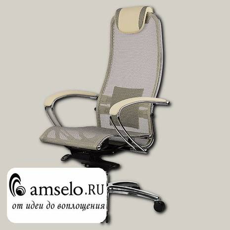 "Кресло slim ""Нэо"" (Сетчатая ткань Бежевая/Кожа NewLeather Бежевая/Хром)"