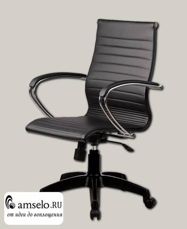 """Кресло """"Скай"""" (Иск. кожа перфор.Черная/Пластик Черный/Без подголовника)"""