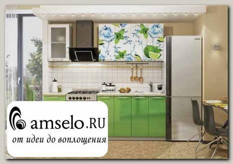 """Кухня 1,6 """"Лакрима"""" (Фотопечать Лайм/Зелёный металлик)"""