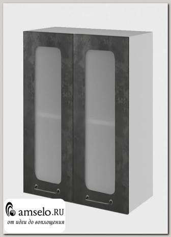 """Шкаф высокий 600 """"The Loft"""" (МДФ) (Бетон темный/Стекло)"""