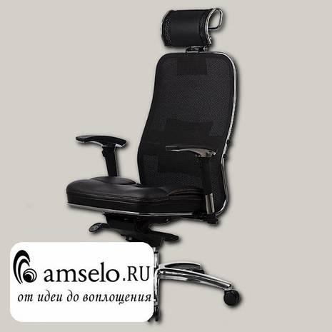 "Кресло fold plus ""Нэо""(Сетчатая ткань двойная Черная/Кожа NewLeather Черная/Хром)"