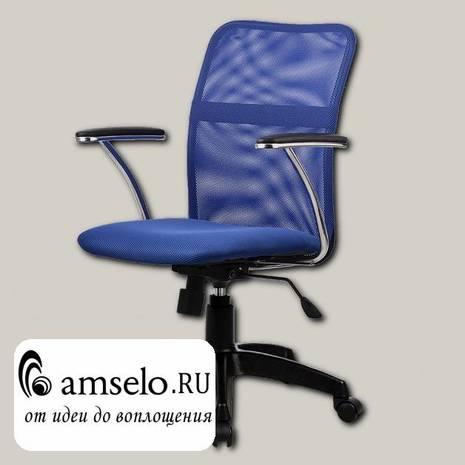 """Кресло K """"Ларри"""" (Ткань-сетка Синяя/Пластик Черный)"""