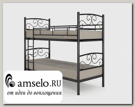 """Кровать двухъярусная 900 double """"Ларго""""(Металл Черная шагрень)-MS/Тр3"""