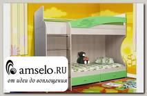 """Кровать двухъярусная """"Вилли"""" (МДФ) (Дуб Линдберг/Эвкалипт металлик/Рис.Черепаха)"""