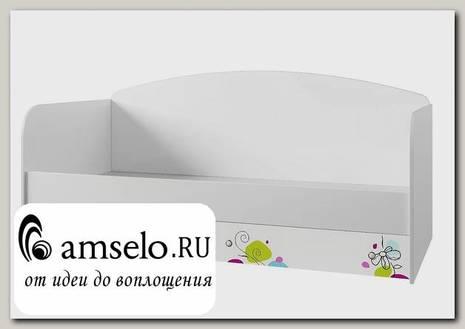 """Кровать -софа 900 с ящ. """"Фиоретто"""" (МДФ) (Белый глянец/Фотопечать)"""