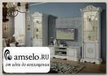 """Гостиная """"Сицилия"""" (МДФ) (Белый/Серебро/Шелкография/Стекло) MrGr"""