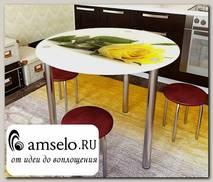 """Стол с фотопечатью D_0,9 (flowers 20) round """"Амели"""""""