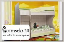 """Кровать двухъярусная """"Вилли"""" (МДФ) (Дуб Линдберг/Кремовый металлик/Рис.Черепаха)"""