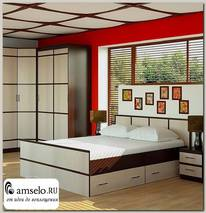 """Кровать 1600 с ящиками """"Акура"""" (Венге/Лоредо)"""