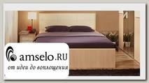 """Кровать 1400 luxe с ортопед.осн-ем """"Вивьен"""" (Дуб отбеленный/Винилкожа Топлёное молоко)"""