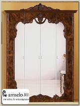 "Шкаф 4-х дверн. ""Агата"" (МДФ) (Итальянский орех/Зеркало) MrEl"