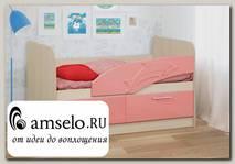 """Кровать 800х1400 с ящ. """"Вилли"""" (МДФ) (Дуб Линдберг/Розовый металлик/Рис.Дельфин)"""