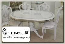 "Стол ""Сицилия"" (МДФ) (Белый/Серебро/Шелкография) MrGr"