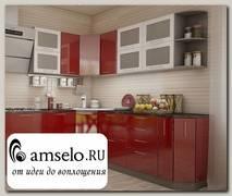"""Кухня угловая 2,31х2 (левая) """"Бруско"""" (МДФ металлик) (Белый/Гранат)"""