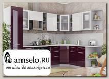 """Кухня угловая 2,0х2,8 левая decorazione """"Лакрима"""" (МДФ глянец) (Белый/Баклажан)"""