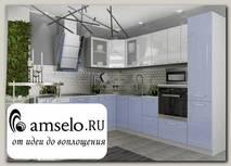 """Кухня угловая 2,2х2,6 левая decorazione """"Лакрима"""" (МДФ глянец) (Белый/Балтик)"""