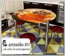 "Стол с фотопечатью D_0,9 (coffee 1) round ""Амели"""