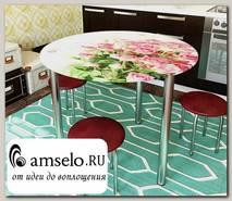 """Стол с фотопечатью D_0,9 (flowers 3) round """"Амели"""""""